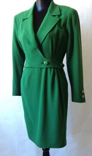 VINTAGE VALENTINO BOUTIQUE 1960's COUTURE GREEN WRAP DRESS Bakelite Buttons S/M