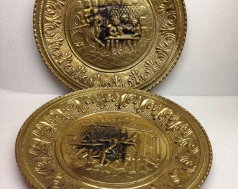 Antique Brass Wall Plates Classy 2 Antique Brass Wall Plates Tavern Scene 11 Inch Wall Hanging 2018