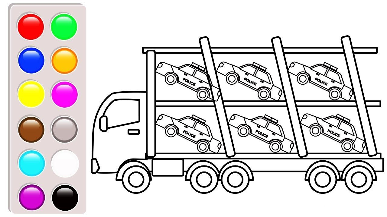 Police car carrier truck coloring pages, Construction vehicles ...