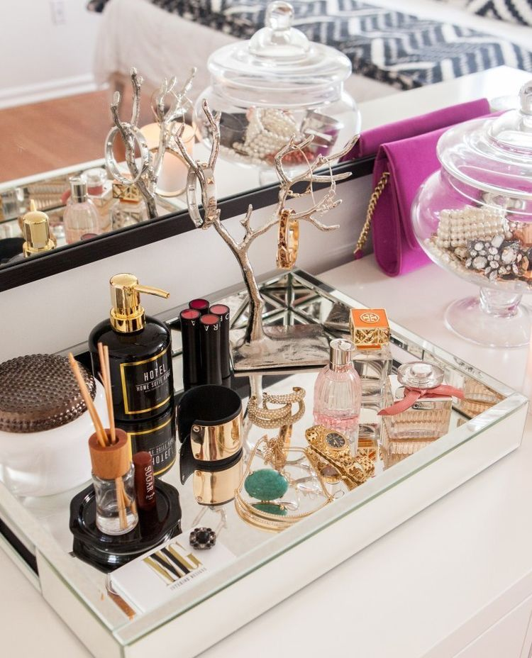 mirrored tray // Dressing Table Decorating Ideas // Vanity