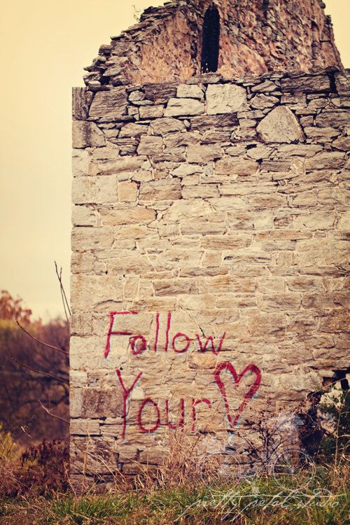 Fine Art Photograph, Follow Your Heart, Red Graffiti, Abandoned ...