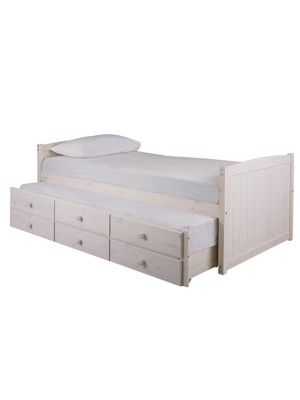 Kidspace Georgie Solid Pine Bunk Bed Frame With Storage Guest