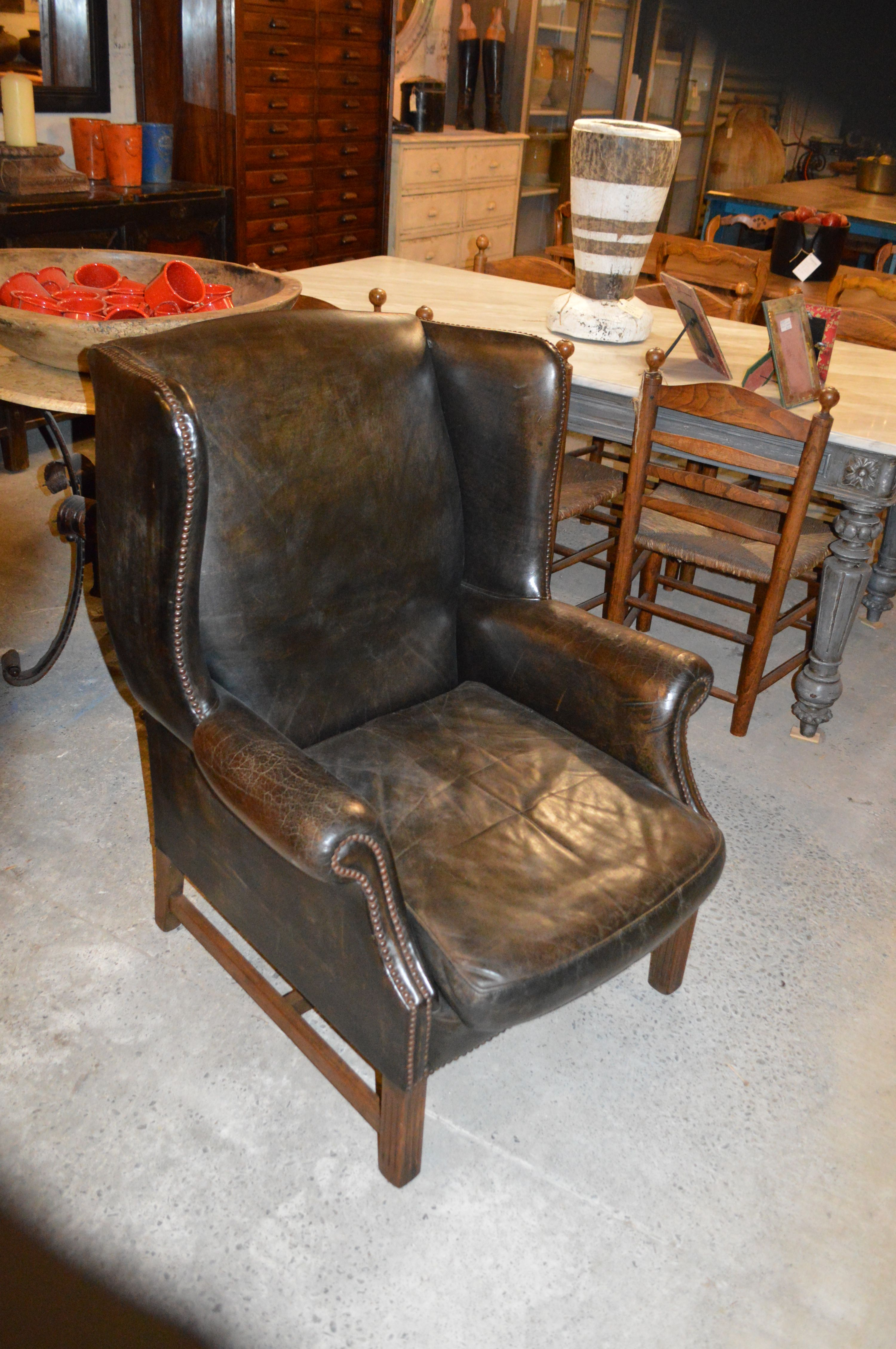 Old Wing Chair From Country Trader New Zealand Comfortable Chair Chair Leather Seat