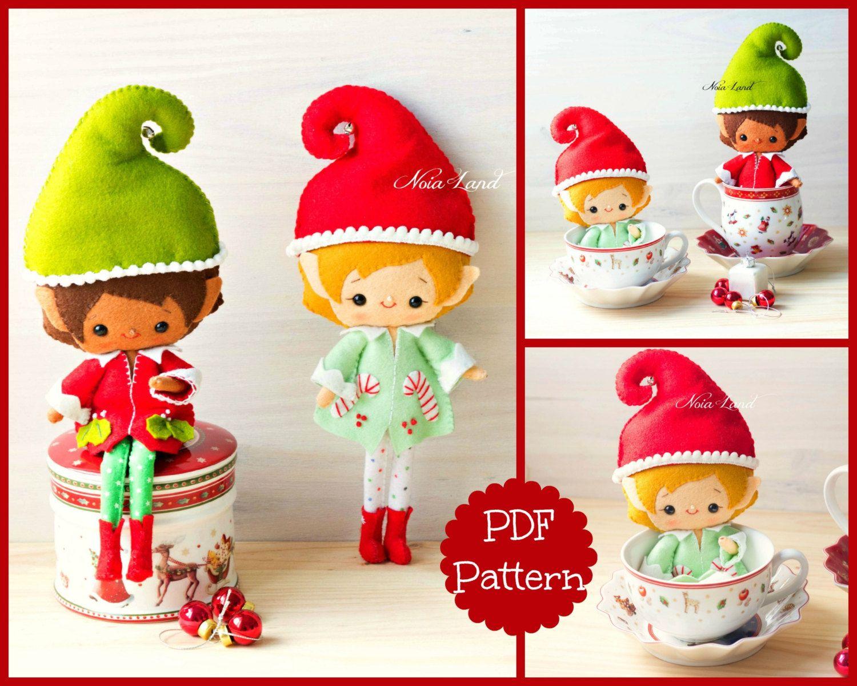 PDF. Santa elves .Plush Doll Pattern, Softie Pattern, Soft felt Toy ...