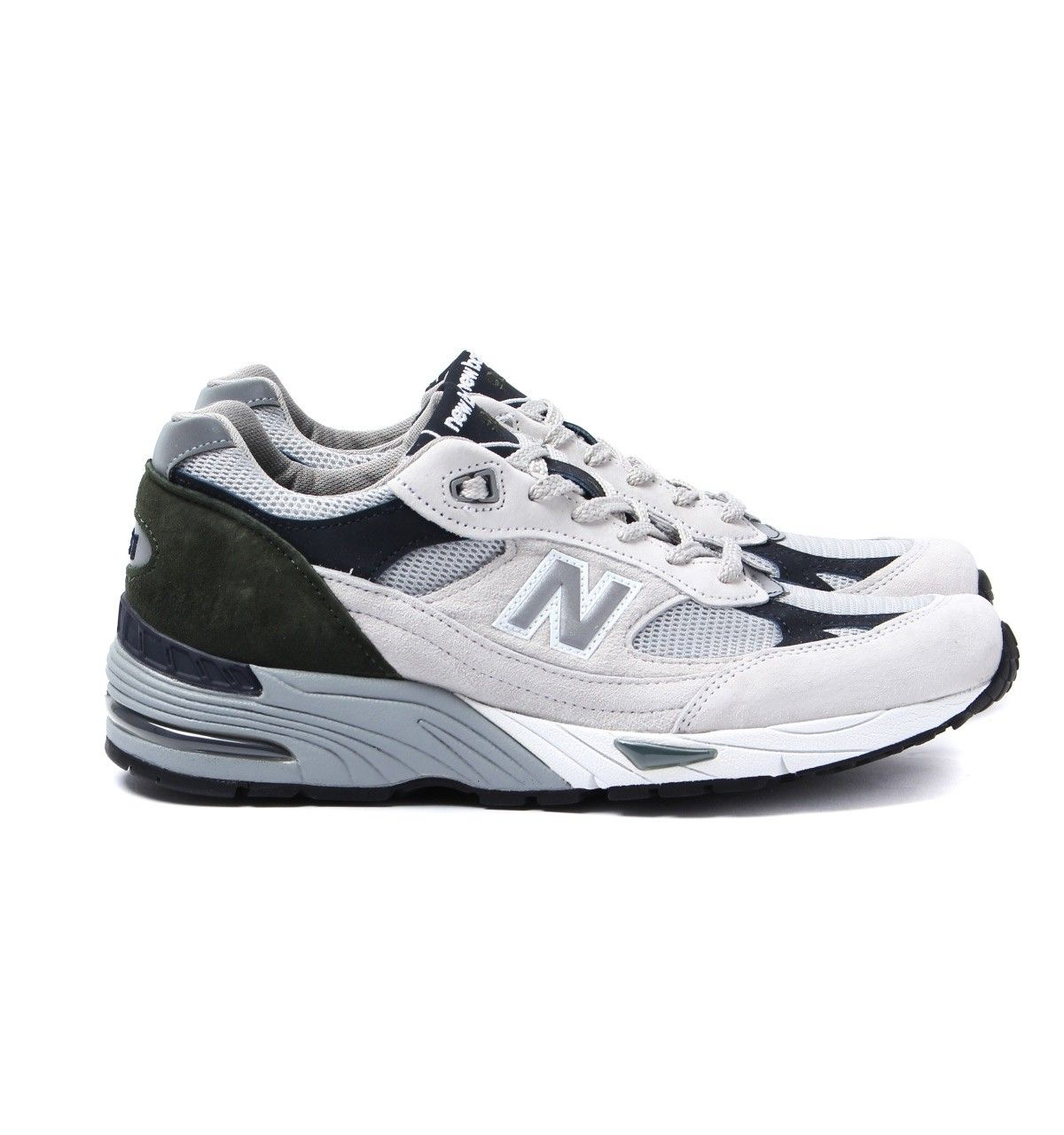 New Balance M991 WGN Off White & Green Made in England Trainers