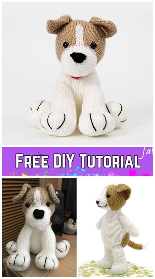 Knit Amigurumi Dog Toy Sofites Free Knitting Patterns #knittedtoys