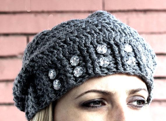 Crochet Slouchy Hat with Rhinestones | crochet hats | Pinterest ...