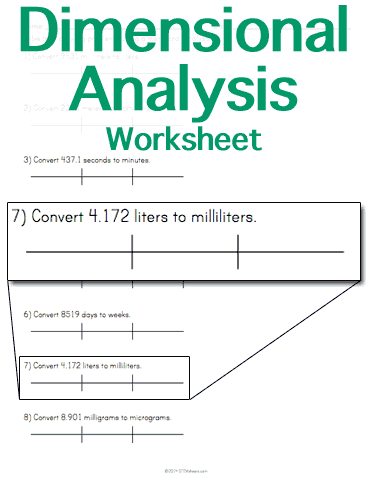 Customizable and Printable Dimensional Analysis Worksheet | Math ...