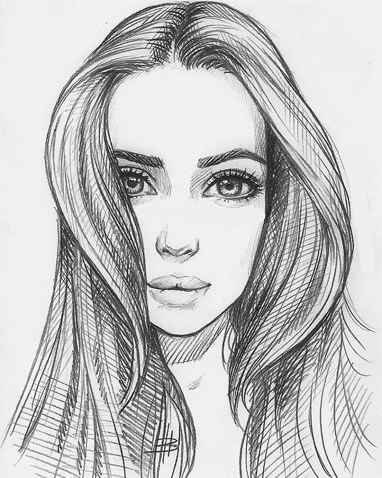 A Sketched Photo Of A Beautiful Female Human
