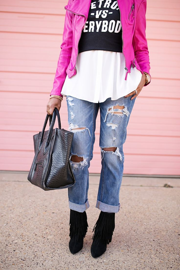 detroit vs everybody t-shirt- american eagle boyfriend jeans- american eagle tom girl jeans- zara fringe booties- justfab look for less celine- pink leather moto jacket- laws of layering-dallas fashion blogger- detroit fashion blogger, valentines date nig