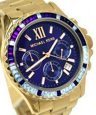MICHAEL KORS MK5754 WOMEN'S EVEREST CHRONOGRAPH GLITZ GOLD TONE WATCH $325 NWT