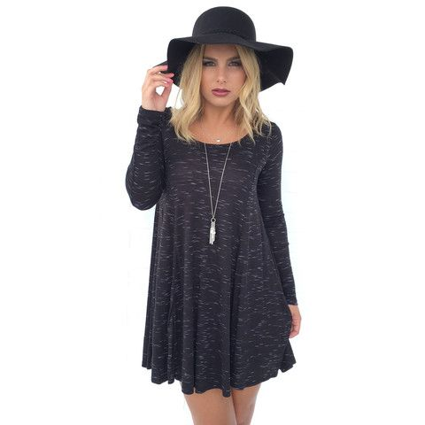 Speckled Jersey Tunic Dress in Black