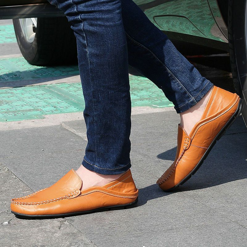 aa65b976bf8 Black Fashion Luxury Men Loafers Dark Blue Soft Leather Driving Flats Light  Brown Casual Trendy Mens Shoes