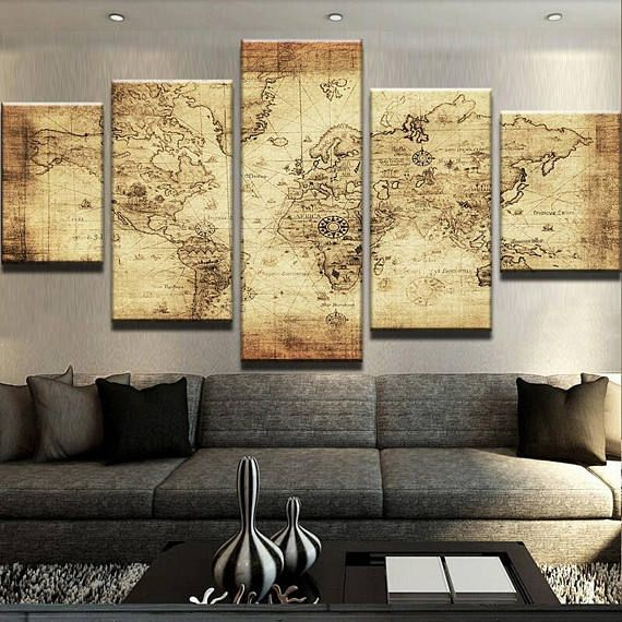 World Map No17 Map Modern Canvas Art Modern Home Decor World Map ...