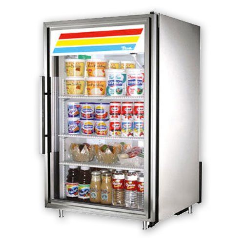 7 Cu Ft Glass Door Refrigerated Merchandiser Stainless Exterior
