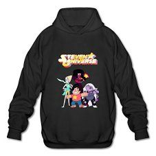 HEJX Mens Steven Universe Logo Long-Sleeve Hoodies Sweatshirt Black