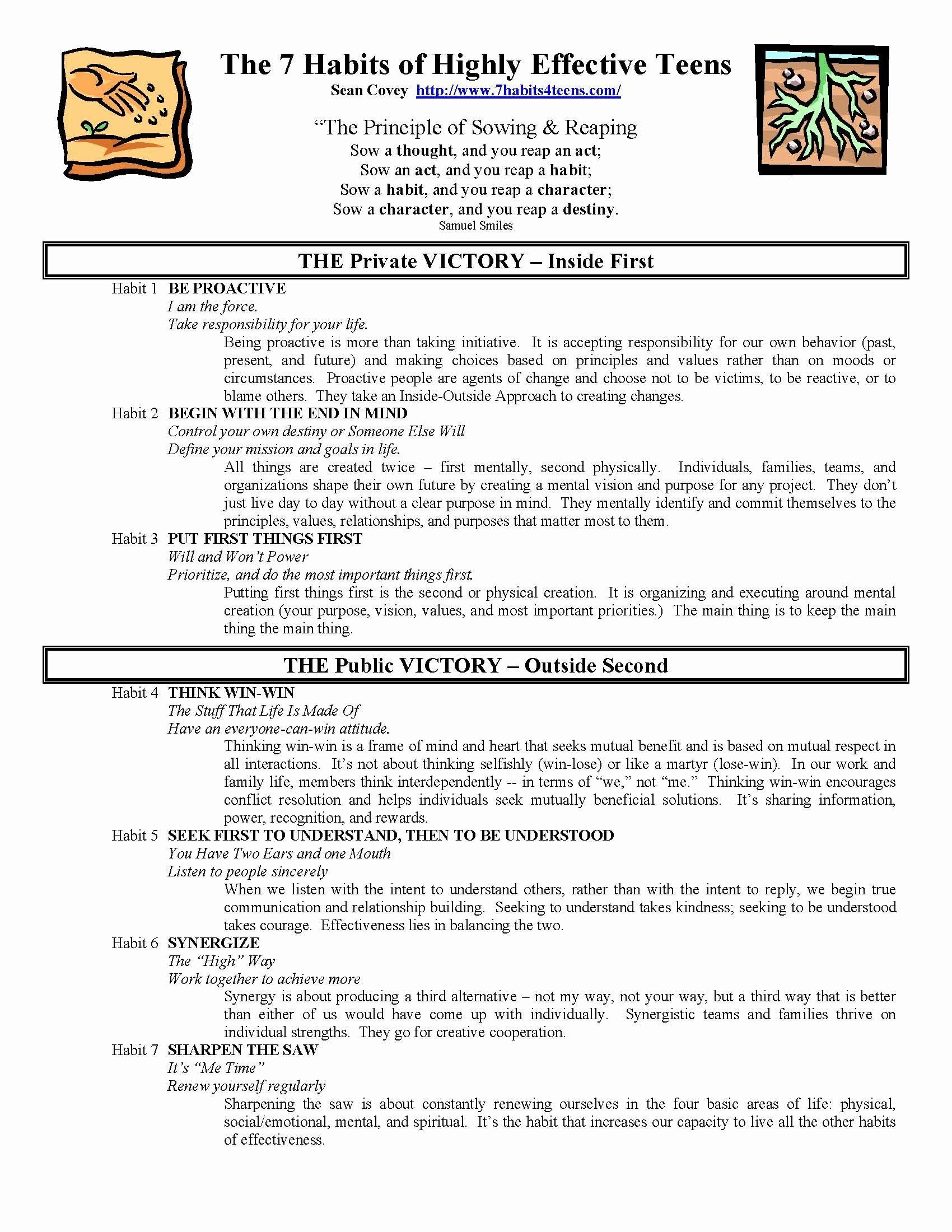 medium resolution of 7 Habits Worksheet Pdf Luxury 7 Habits Highly Effective Teens Worksheets  the Best   School organization for teens