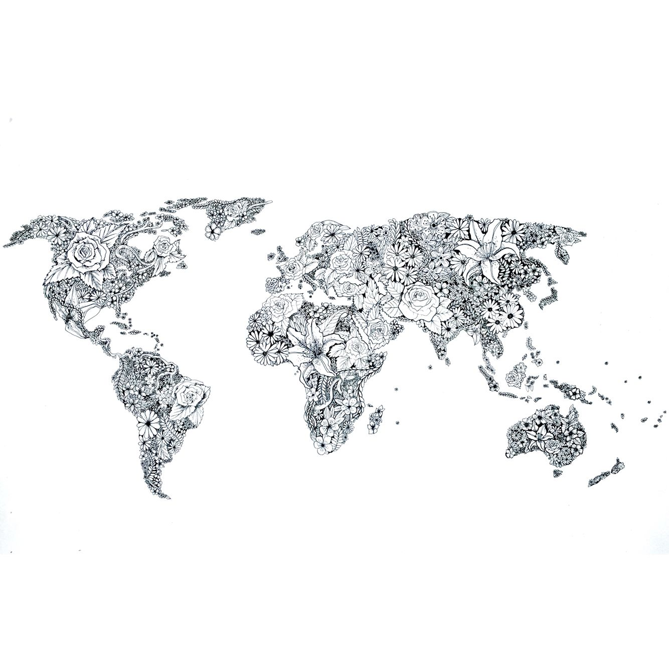World Map Illustration by Artist Samii Lund! Floral influence, hand ...
