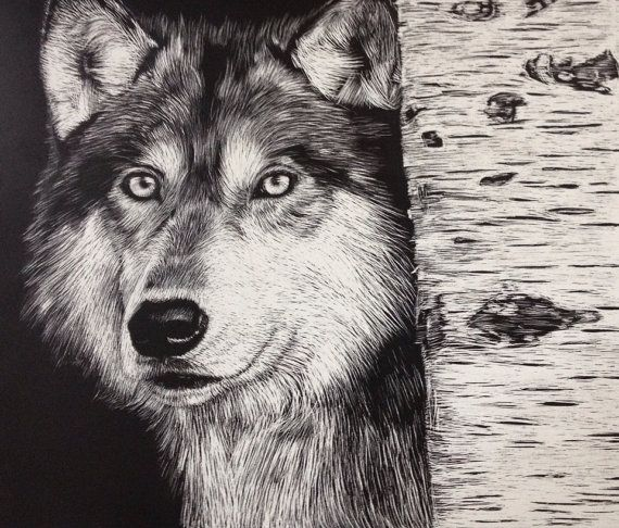 wolf scratch art piece by shannonrudderart on etsy. Black Bedroom Furniture Sets. Home Design Ideas