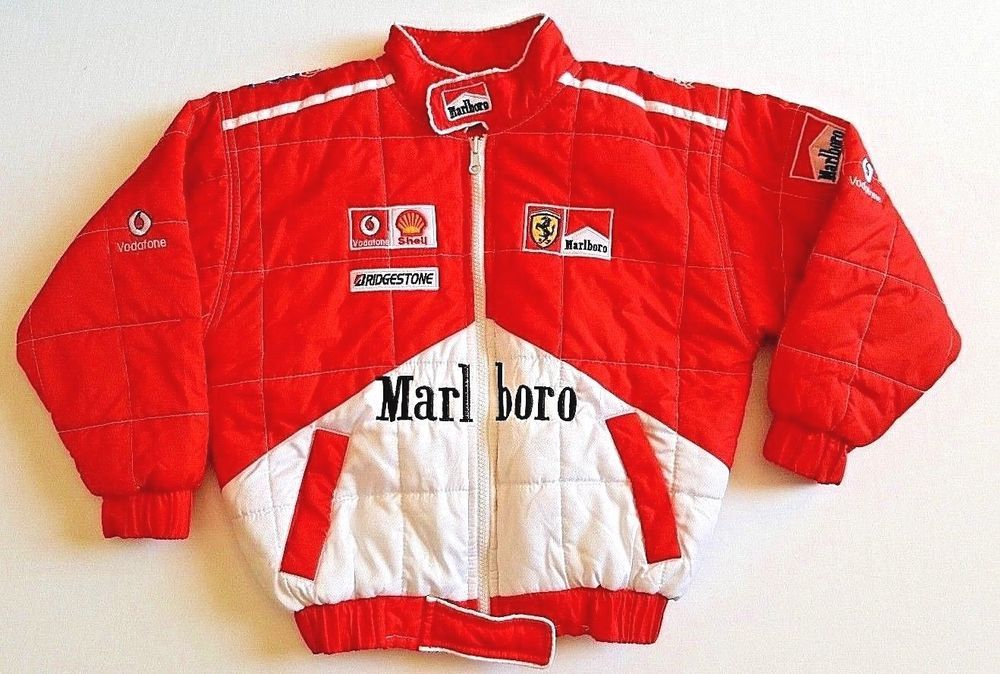 Marlboro Ferrari Car Race Jacket Youth Boys Size 6 Red White Quilted Shell Usa Kids Winter Outfits White Quilt Jackets