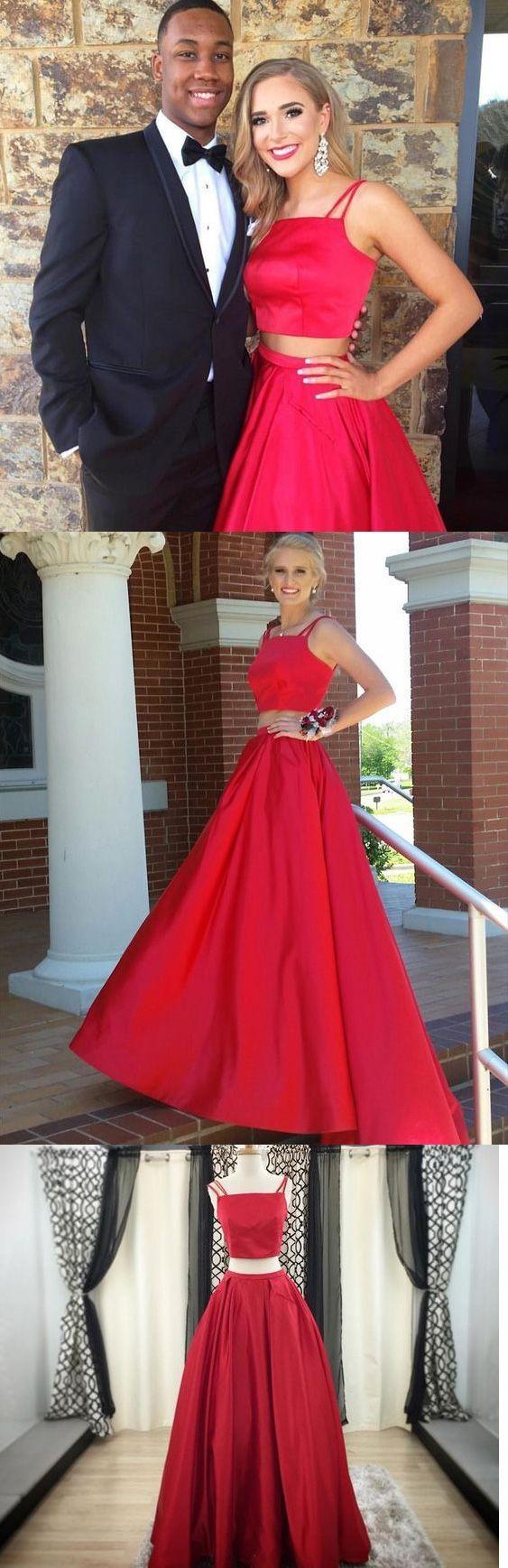 Red two piece prom dress sexy prom dresses fashionpromdress