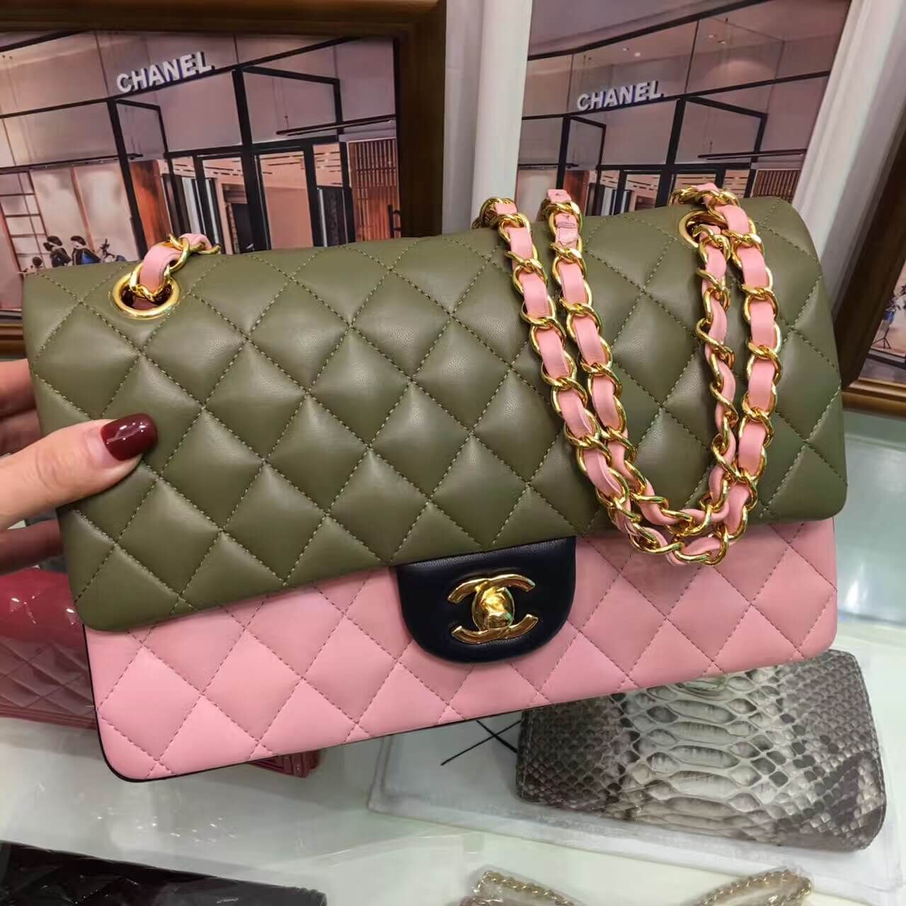 7f071cb65f45 Chanel Multicolor Lambskin Medium Classic Double Flap Bag Green Pink Black