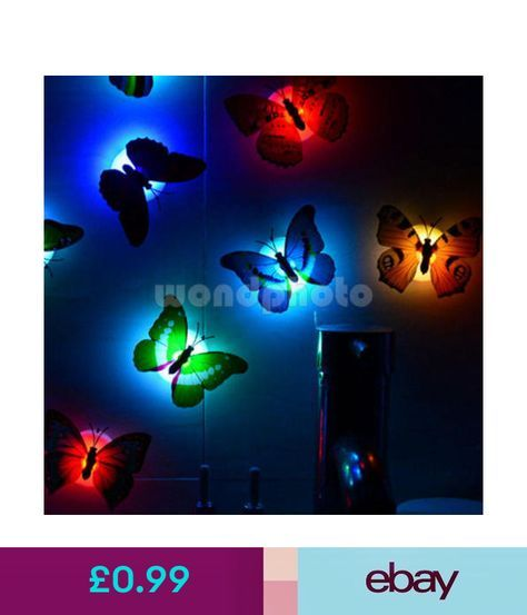 Night Lights Color Changing Butterfly Led Night Light Lamp Bedroom Wall  Decor For Child Kids #