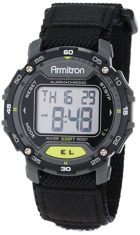 Armitron Sport Unisex 40/8291BLK Black Velcro Strap Grey
