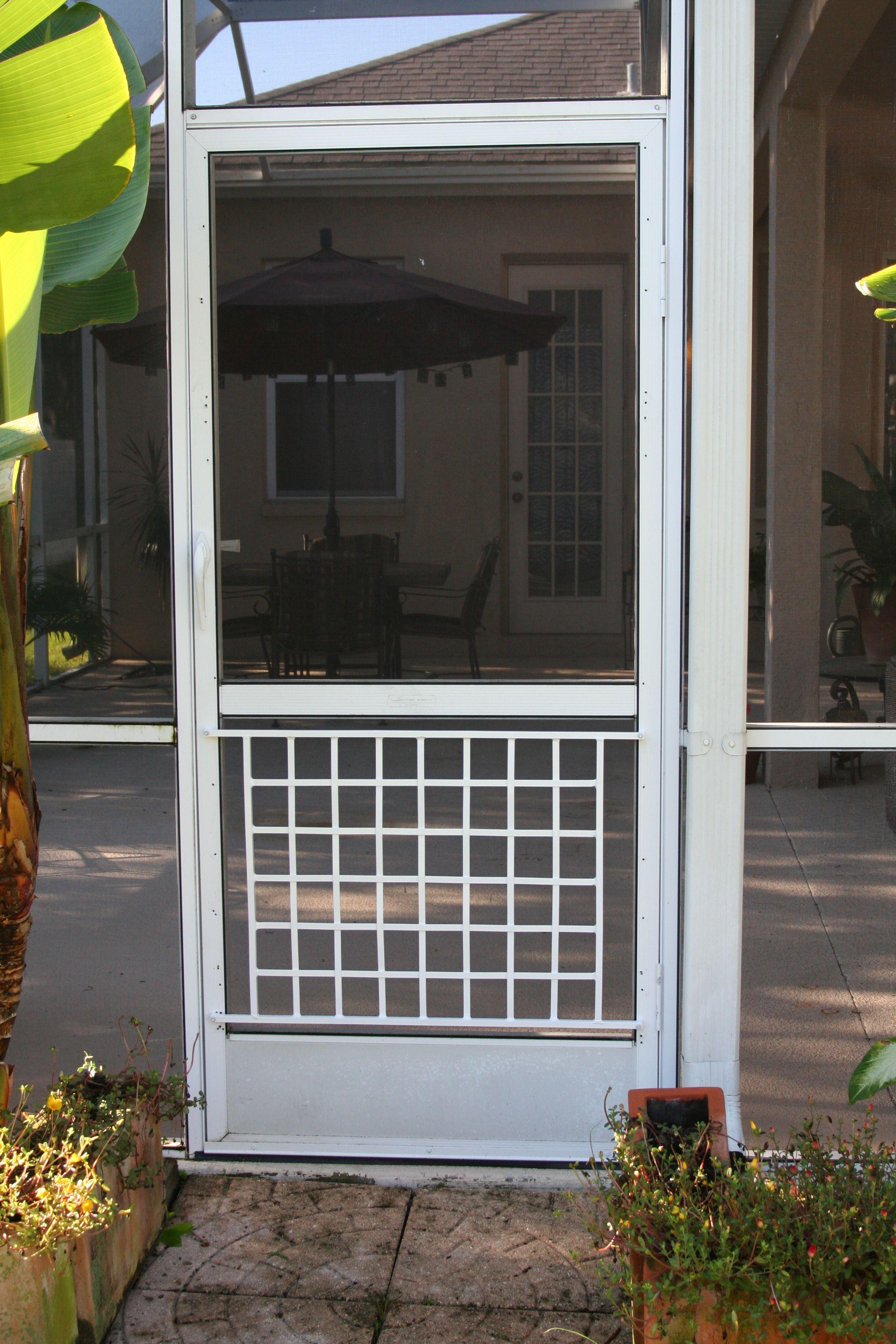 Basket weave half screen door grille screen door