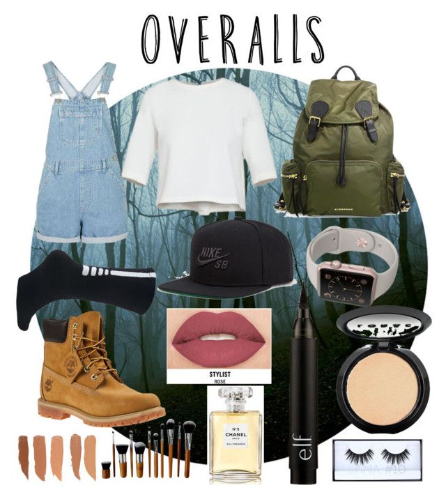 """Overall"" by demixb ❤ liked on Polyvore featuring Timberland, NIKE, Burberry, Smashbox, LORAC, Chanel, TrickyTrend and overalls"