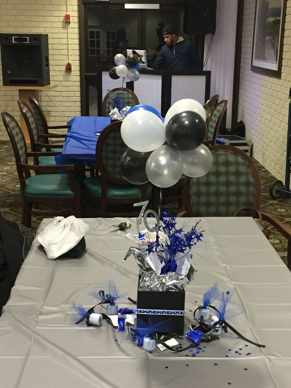 70th Birthday Centerpieces Blue Black White And Silver