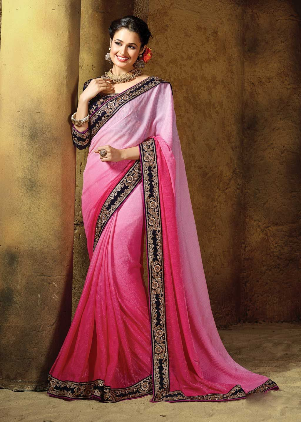 Shaded Pink Georgette Party Wear Saree 61046