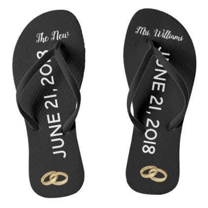 fa0856dd0bd33b Custom The New Mrs. Gold Rings Bridal Flip Flops - married gifts wedding  anniversary marriage party diy cyo