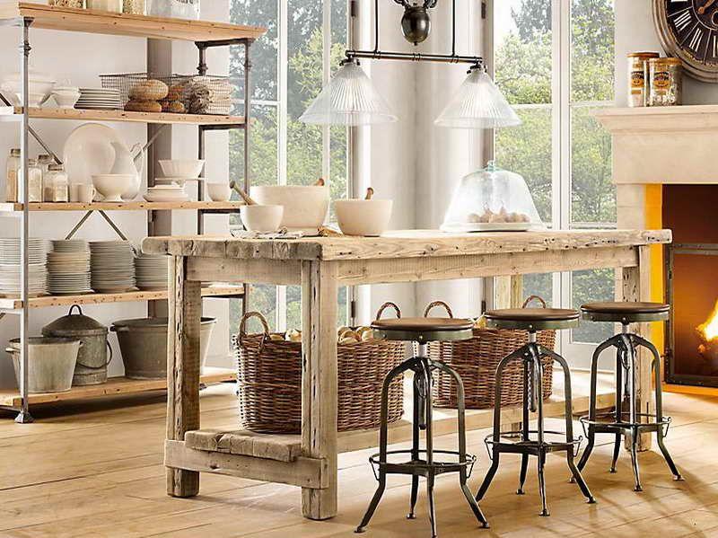 Elegant Vintage Kitchen Ideas   Antique Kitchen Island Ideas With Wricker Basket