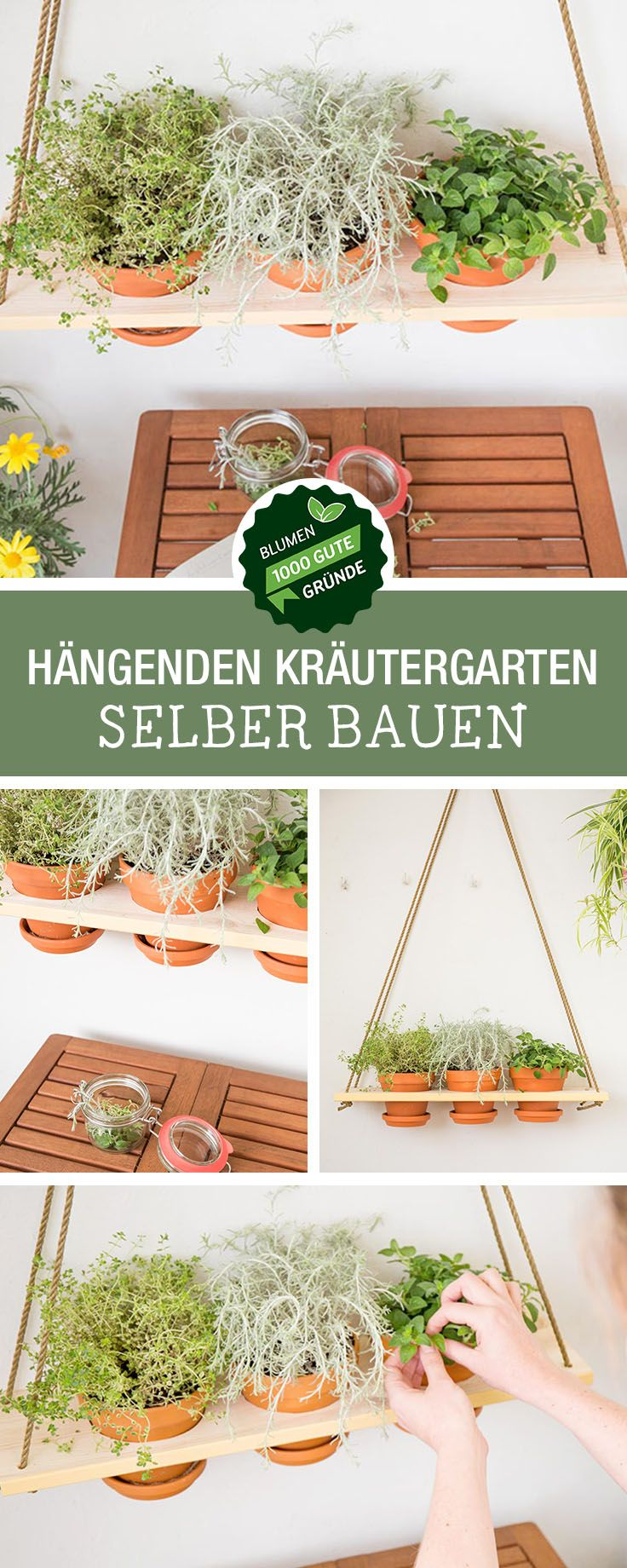 Geschenkidee zum Muttertag: Zusammen mit unserem Partner 1000 gute Gründe zeigen wir Euch, wie Ihr einen hängenden Kräutergarten baut, Balkon Deko / gift idea for Mother's Day: how to build a hanging herb garden, urban gardening via DaWanda.com #dawandaandfriends #kräutergartenbalkon