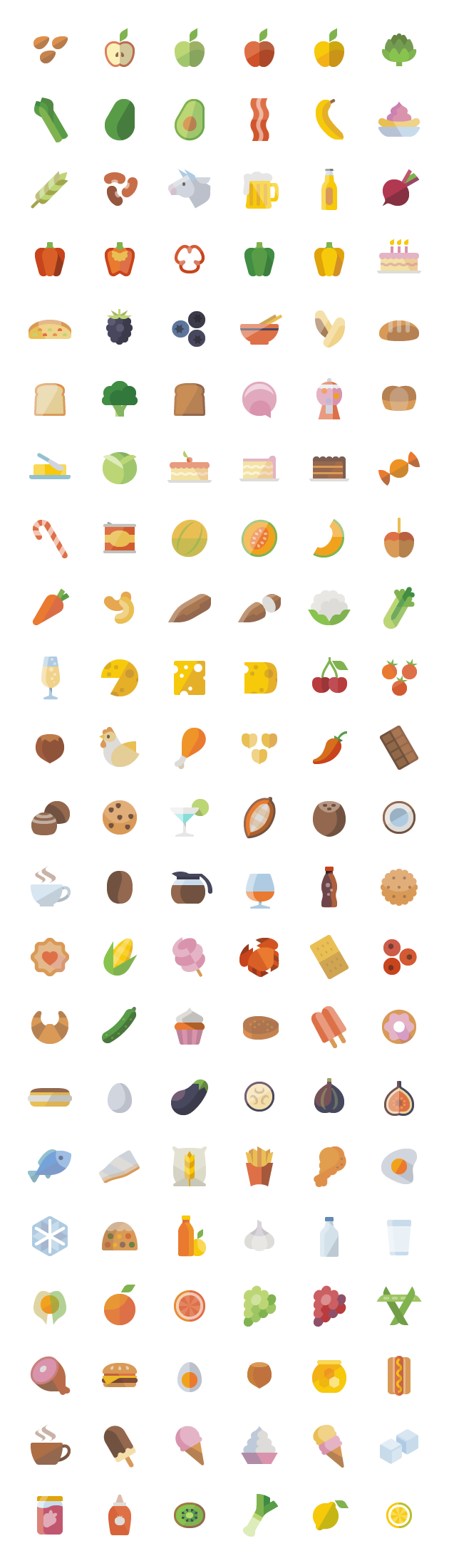 set contains all the icons which allude to food elements related to fruits and vegetables, spices, dairy products, meats, baked goods, beverages, drinks and prepared foods. This set includes approximately 6725 unique icon shapes ( without counting sizes ), and all sizes: 24, 32, 48, 64, 72, 128, 256 and 512 pixels, vector files [...]