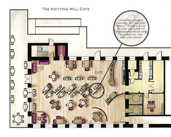 Cafe floor plans examples in color google search cafe for Coffee shop floor plan with dimensions