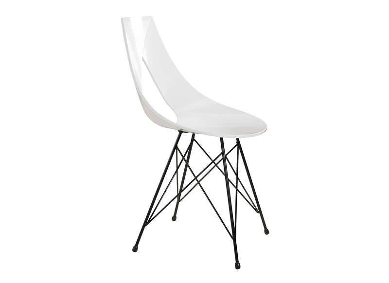 Chaise Design Pied Acier Noir Blanc Rubann V Pas Cher Prix Chaises