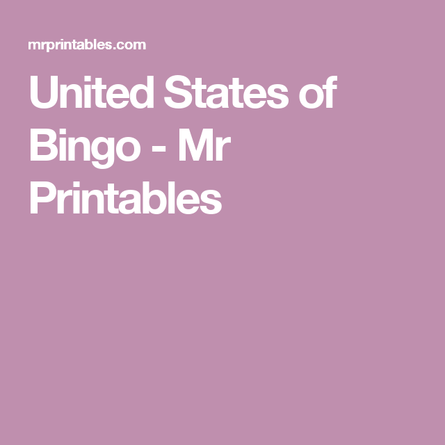 Wedding Charades Ideas: United States Of Bingo - Mr Printables