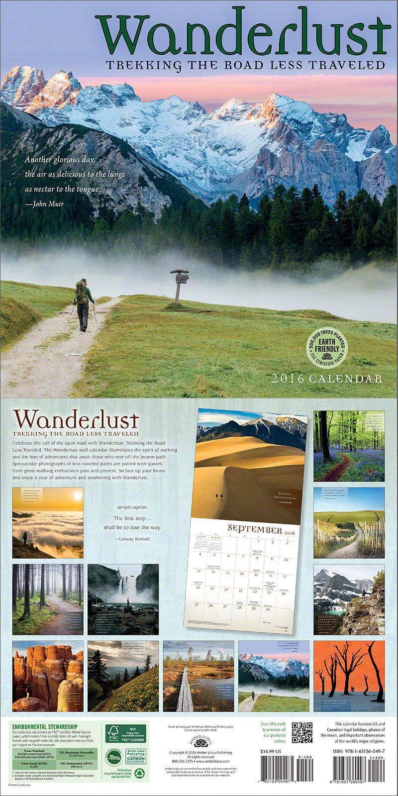 Wanderlust 2019 Wall Calendar Camping And Adventures Pinterest