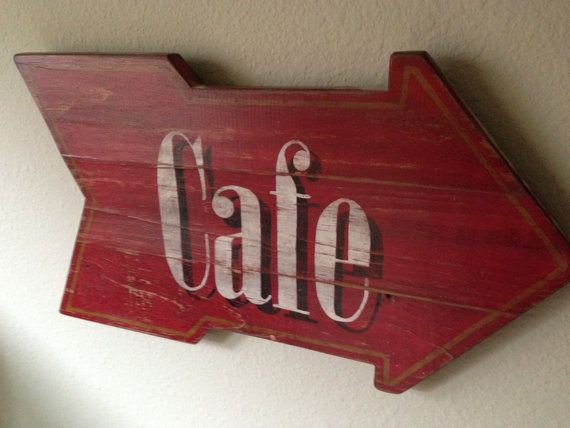 cafe arrow distressed wooden sign kitchen decor kitchen sign cafe sign cafe - Distressed Cafe Decor