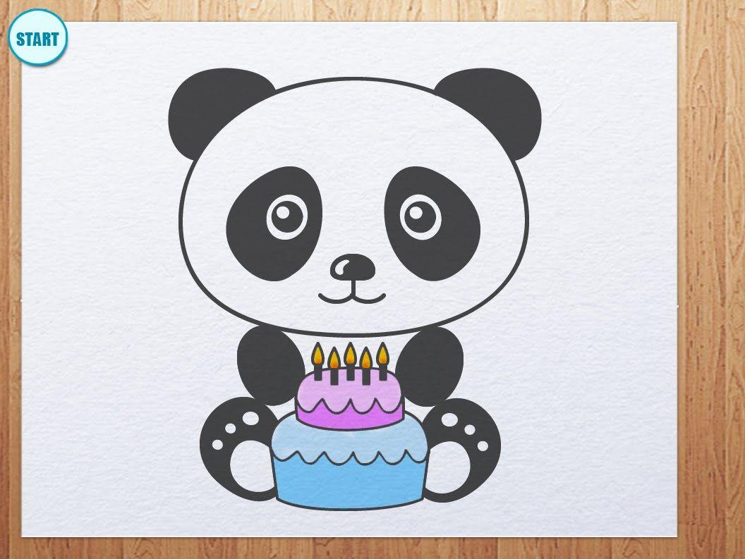 Draw Panda With Birthday Cake Panda Birthday Cake Panda