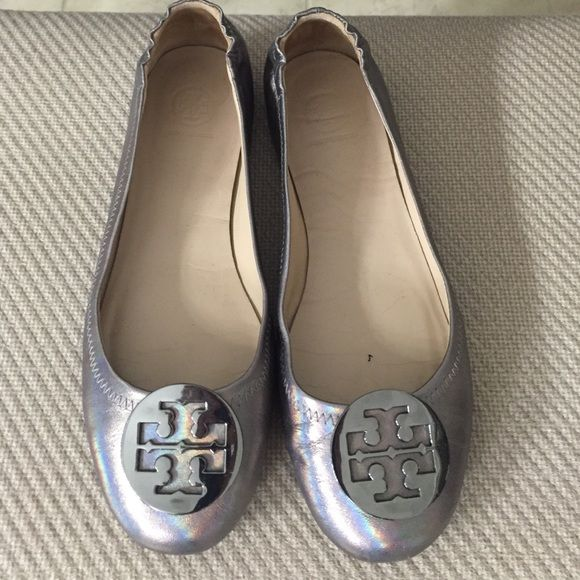 Reva flats by Tory Burch Gunmetal grey. Kinda iridescent. Small scratches on one toe. See pics. Worn once. Tory Burch Shoes Flats & Loafers
