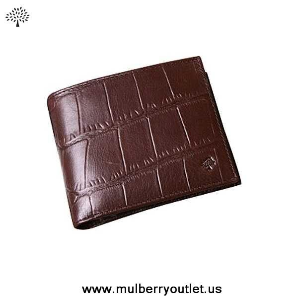 Mulberry Mens Printed Leather 8 Card Coin Wallet Dark Coffee On Sale