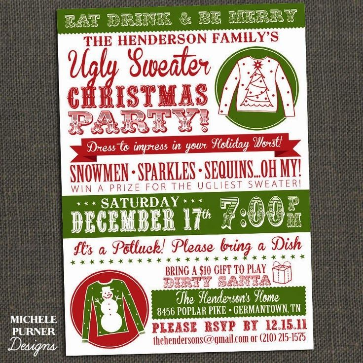 Using this to plan my Tacky Christmas Sweater Party-- tons of ideas ...