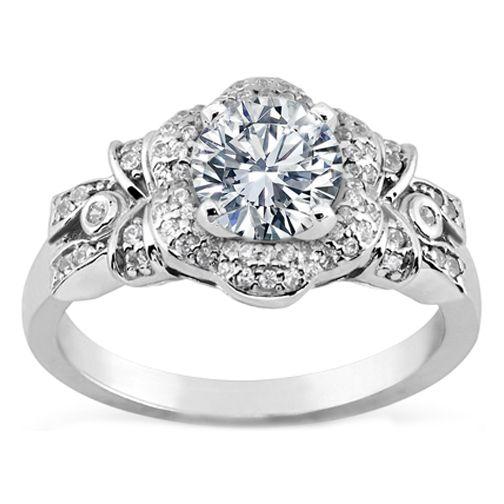 Engagement Ring Diamond Bows Flower Engagement Ring in White