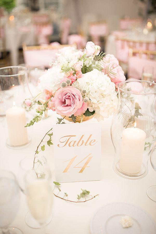 Élégante pièce maîtresse de mariage blanc, rose et or # mariage # mariages #weddingideas …   – Hochzeit