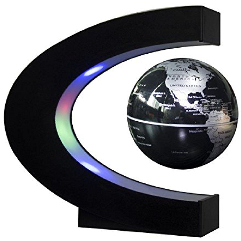 Echony 3 Magnetic Levitation Globe With Led Lights C Shape Floating Globe World Map For Desk Decoration Black S Floating Globe Magnetic Levitation Led Lights