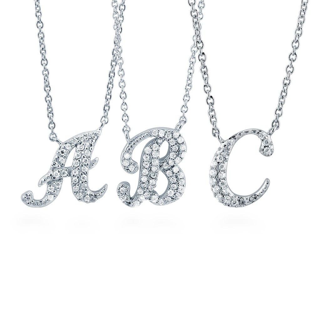 Initial Letter Necklace Silver