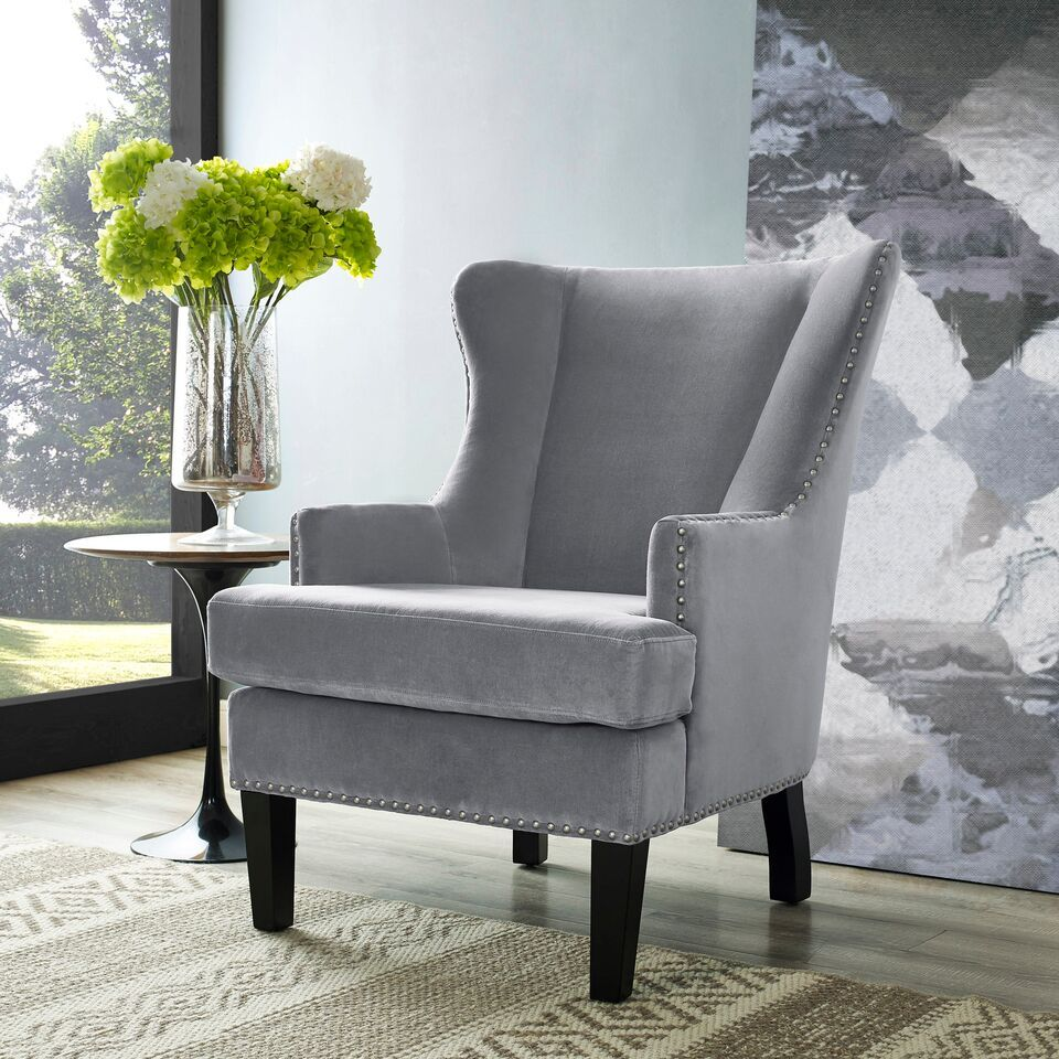 Soho Gray Velvet Wing Chair By Tov Accent Chairs Grey